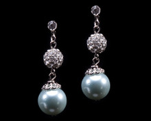 Light Blue Pearl and Rhinestone Earrings