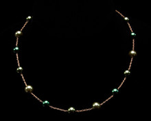 Leaf, Emerald and Avocado Green Pearl Necklace on Gold