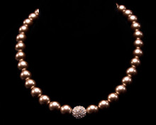 Formal Taupe Pearl Necklace With Rhinestone Ball (brown)