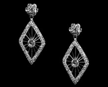 Diamond Shaped Chandelier Earrings with Clear Crystals
