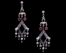 Silver Chandelier Earrings Accented in Pink