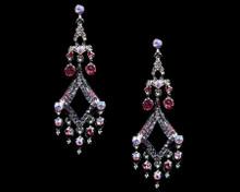 Silver Chandelier Earrings Accented in Pink