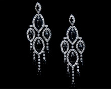 Dangling Black Crystal Chandelier Earrings Lined with Clear Crys