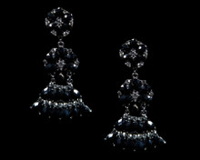 Black Chandelier Flower Earrings with Antique Silver