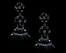Black Chandelier Flower Earrings with Antique Silver