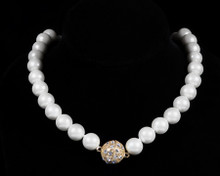 Formal Cream Color Pearl Necklace with Gold (Ivory)