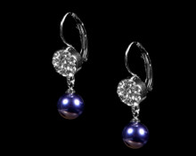 Formal Deep Purple Pearl and Silver Earring