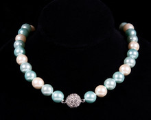 Formal Aqua Blue Color Pearl Necklace with Rhinestones