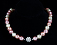 Formal Pink Color Pearl Necklace with Rhinestones
