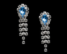 Blue Crystal Teardrop Earrings with Clear Crystals