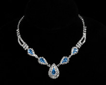 Blue Crystal Teardrop Necklace with Clear Crystals