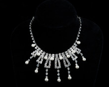 Rhinestone Necklace with Dangling White Pearls