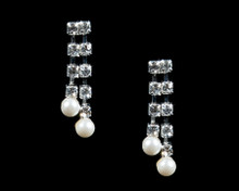 Rhinestone Earrings with Dangling White Pearls