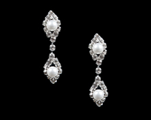 White Pearl Earrings Surrounded by Sparkling Crystals in Silver