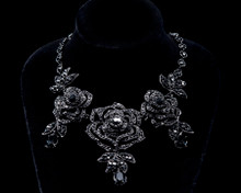 Splashy Black Crystal Rose Necklace & Earring Set
