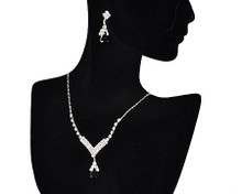 Black and Rhinestone V drop Necklace & Earring Set