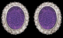 Soft Amethyst Purple Glitter & Crystal Pierced Earrings