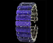 Amethyst Glitter Crystal Bracelet - No Clasp Fits Most Wrists