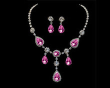 Fuschia Teardrop Crystal Dangle Necklace & Earring Set -Hot Pink