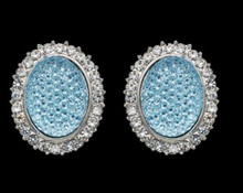Soft Aqua Blue Glitter & Crystal Pierced Earrings