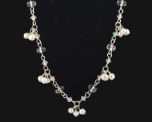 White Pearl and Crystal Bridal Necklace