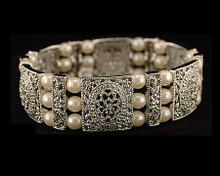 Large Ornate Silver & Pearl Bracelet