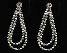 Silver Bead and Crystal Loop Earrings
