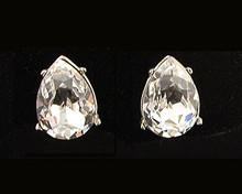 Pear-Shaped Clear Austrian Crystal Stud Earrings