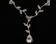 Pear and Leaf Silver Necklace