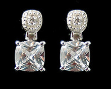 Cubic Zirconia (CZ) and Sterling Silver Rhinestone Earrings