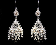 Silver triangle with black stones earrings