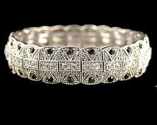 Marcasite Bracelet w/Onyx and Rhinestones