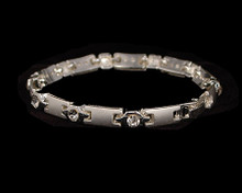 Matte silver link bracelet with crystal accents