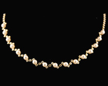 ZigZag Gold Wedding Necklace with Ivory Pearls