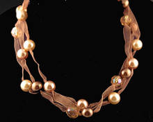 Brown and Gold Pearl with Brown Crystals Ribbon Necklace