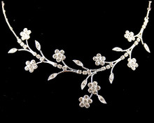 Silver Flower Fantasy Necklace with Rhinestones