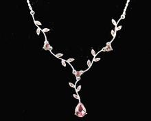 Lavender Crystal & Silver Leaf Necklace for Bridesmaids (purple)