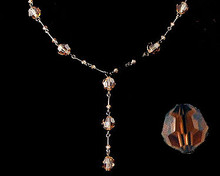Brown Crystal Necklace with Dark Chain