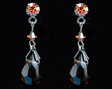 Brown Crystal Drop Earrings with Dark Chain (medium)