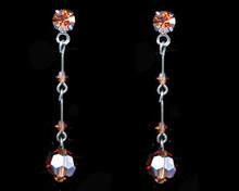 Brown Crystal Earrings on a dark chain (long)
