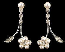 White Pearl Flower Fantasy Earrings with Rhinestone