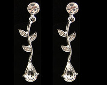 Clear Crystal Pear and Leaf Earrings (Flower)