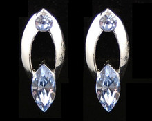 Light Blue Crystal and Silver Oval Earrings