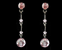 Pink Crystal Drop Earrings with Dark Chain (long)