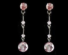 Pink Crystal Drop Earrings with Dark Chain (long)