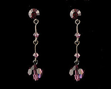 Dark Purple/Eggplant Crystal Drop Earrings with Dark Chain (lon