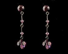 Dark Purple/Eggplant Crystal Drop Earrings with Dark Chain (lon