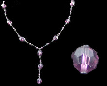 Dark Purple/Eggplant Round Crystal Y Necklace with Dark Chain