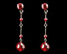 Red Crystal Drop Earrings with Dark Chain (long)