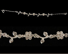 Clear Crystal and Silver Flower Bracelet